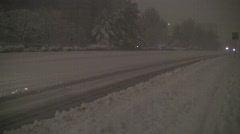 Snow car plowed road silent 15s Stock Footage