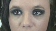 Emo goth girl listneing to music - 1 Xtreme closeup zoom out Stock Footage