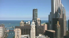 Downtown Chicago Waterfront Pan Stock Footage