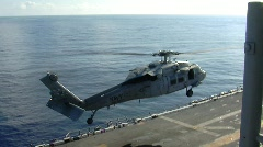 Seahawk Helicopter Takes off Aircraft Carrier (HD) Stock Footage