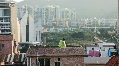 Roof top clothes drying Stock Footage