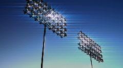 131 glamourous moving up stadium lights light large Stock Footage