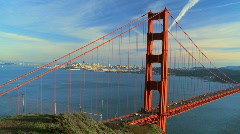 Golden Gate Bridge & City Skyline  Stock Footage