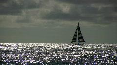 Catamaran sailing of shore in the Hawaiian Islands Stock Footage