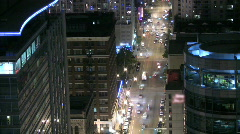 Time Lapse of a Downtown Chicago Street at Night Stock Footage