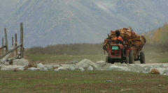 Tractor with wood Stock Footage