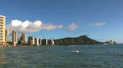 Surfers and sun bathers on Waikiki Beach Stock Footage