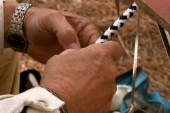 Braiding a bull whip Stock Footage