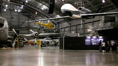 Pan of Air Force Museum Hanger Stock Footage