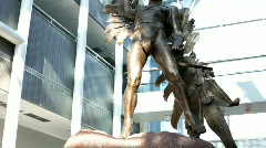 Tilt of Icarus Statue at Museum Stock Footage