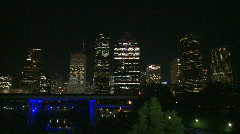 Downtown Houston at night - resolve on city - stock footage