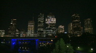 Stock Video Footage of Downtown Houston at night - resolve on city