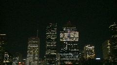 Downtown Houston at night - pan - stock footage