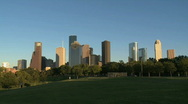Stock Video Footage of Houston Skyline in late afternoon - wide shot