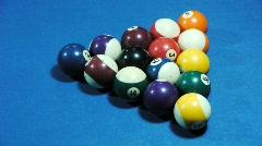 Pool balls separating during break Stock Footage