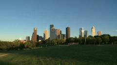 Houston Skyline in late afternoon - zoom in - stock footage