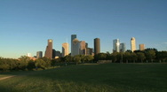 Houston Skyline in late afternoon - zoom in Stock Footage