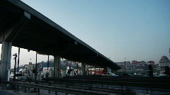 Traffic passing toll booth Stock Footage