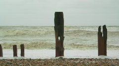 Time Lapse  Winchelsea Beach Groynes Stock Footage