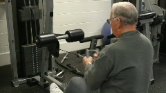 Elderly Man On Row Machine Stock Footage