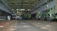 Trucks aboard Navy Ship  (HD) Stock Footage