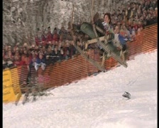 Wipe out on sledge, funny winter olympics.2 Stock Footage