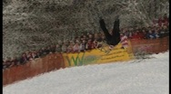 Stock Video Footage of wipe out on sledge, funny winter olympics.3