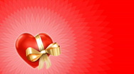 Valentine video card - heart with gold ribbon on red loop Stock Footage