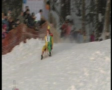 Wipe out on sledge, funny winter olympics.4 Stock Footage