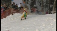 Stock Video Footage of wipe out on sledge, funny winter olympics.4