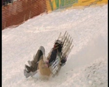 wipe out on sledge, funny winter olympics.7 - stock footage