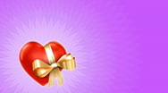 Valentine video card - heart with gold ribbon on pink loop Stock Footage