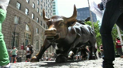 Wall Streets Bull Statue Stock Footage