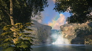 Stock Video Footage of (1148) Waterfall Rainbow Tropical Oasis Jungle Sunset LOOP