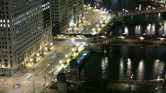 Stock Video Footage of Aerial View of Chicago Riverfront at Night