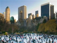 New York Central Park Wollman Ice Skating Rink 400x300 - stock footage