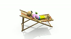 3D man relaxing on a reclining chair Stock Footage