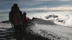 expedition hikers to uhuru peak - stock footage
