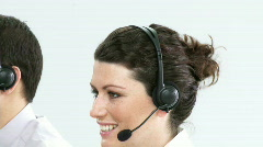 Portrait of businesspeople working hard in a call centre Stock Footage