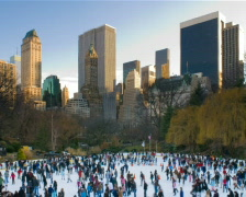 New York Central Park Wollman Ice Skating Rink PAL - stock footage