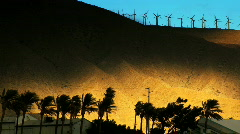 Desert wind farm at sunset(slight movement) Stock Footage