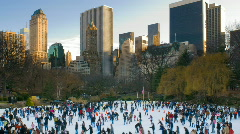 New York Central Park Wollman Ice Skating Rink HD - stock footage