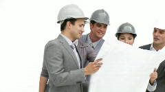Ambitious team of architects at work - stock footage