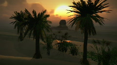 (1150) Egyptian Sphinx Desert Sand Palm Oasis Sunset Clouds LOOP Stock Footage