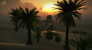 Stock Video Footage of (1150) Egyptian Sphinx Desert Sand Palm Oasis Sunset Clouds LOOP