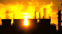 Oil Refinery Environmental Pollution - stock footage
