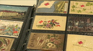 Stock Video Footage of Vintage Postcard Collectibles