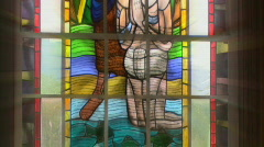 John the Baptist baptizes Jesus Stained Glass Stock Footage