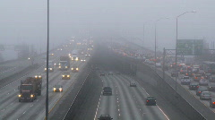 Freeway fog time lapse Stock Footage