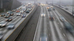 Freeway fog time lapse Stock Footage